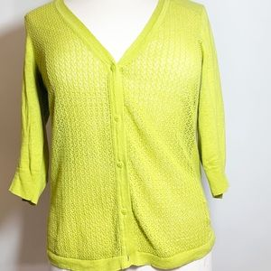 Eddie Bauer Open Knit Lime Green Cardigan 1X